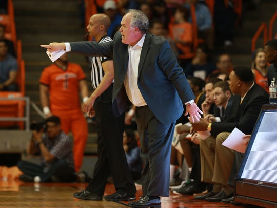 Southern Miss coach Doc Sadler, a former UTEP basketball head coach, directed his team Saturday against the Miners.