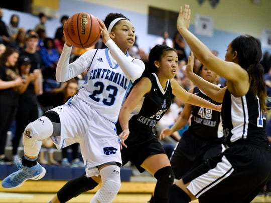 Centennial's Malea Robertson (23) shoots against Antioch