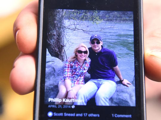 Stacey DeHaven is pictured with her husband, Phillip  Kauffman. Former owner of Head Over Heels Gymnastics, DeHaven died in a car wreck in October.