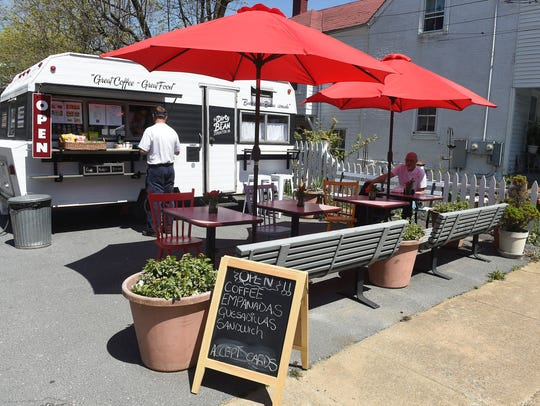 The Dirty Bean food truck operates in a parking lot