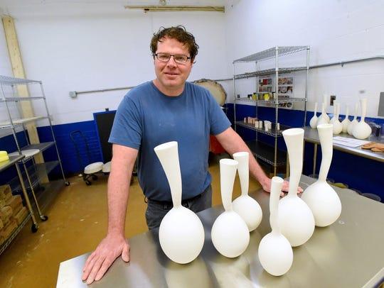 Ceramic artist Jake Johnson owns Make Waynesboro Clay