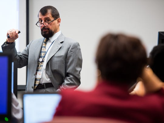 Tennessee State University professor Kirmanj Gundi teaches a class March 20, 2017. Gundi moved to the United States from Iraq in the summer of 1977.