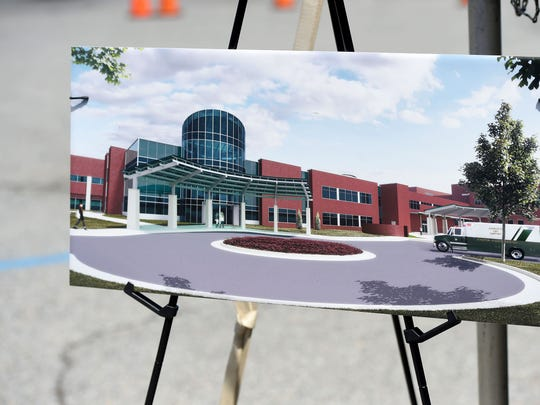 An artist renditioning of the new emergency department expansion is set up for those gathered for the ceremony to look see during the emergency department expansion groundbreaking ceremony at Augusta Health on Wednesday, April 26, 2017.