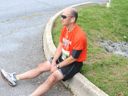 Waynesboro's Greg Le takes a brief rest in Stuarts