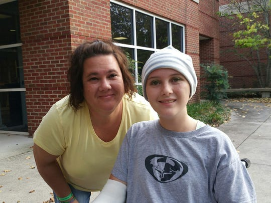 Jaime Pardee (right) with her mother, Angi Pardee, while recovering from a life threatening brain aneurysm and stroke which happened in September of her junior year.