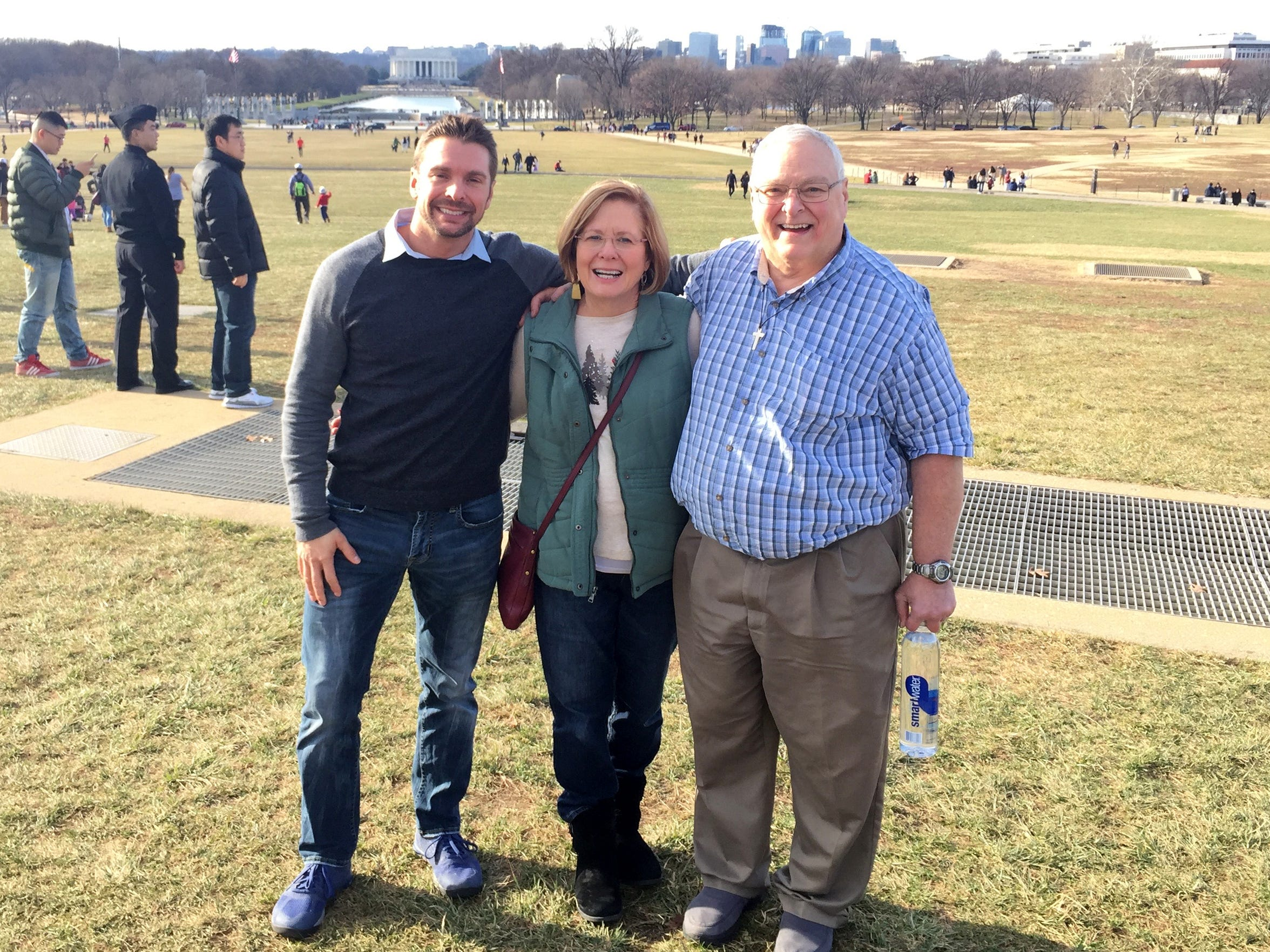 Corey, left, Patti and John Campbell. Corey now lives in Hawaii, but Patti and John still live in Fishersville.