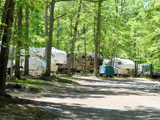Mike Tripp/The News Leader Campers are lined up at just some of the campsites among the trees at Shenandoah Acres in Stuarts Draft on  May 22, 2015. Campers are lined up at just some of the campsites among the trees at Shenandoah Acres in Stuarts Draft on Friday, May 22, 2015.
