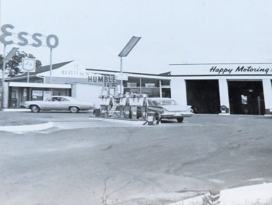 A photograph of the original service station Drumheller's