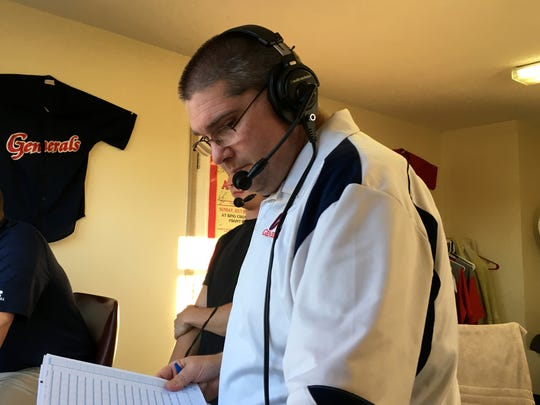 Kris Neil has been the play-by-play announcer for Waynesboro Generals baseball for five years. He announces the team's home games.