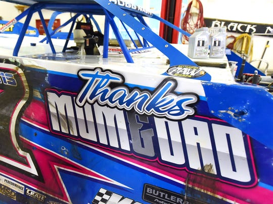 """Thanks Mom & Dad"" is printed on Logan Roberson's Rocket XR1 race car. Although he races the car, it belongs to parents Greg and Wendy Roberson who support their son's racing."