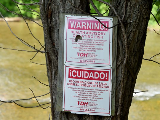 A health advisory on eating fish is posted on a tree overlooking the South River at Constitution Park in Waynesboro.