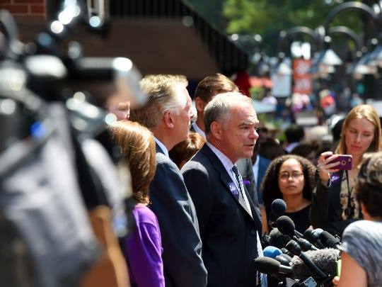 Virginia U.S. Sen. Tim Kaine speaks with members of the media on the mall following a memorial service for Heather Heyer was held at the Paramount Theater in Charlottesville on Wednesday, Aug. 16, 2017. Heather was killed by a car driven into a group of protesters Saturday.