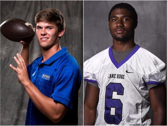 Brentwood quarterback Carson Shacklett (left) and Cane