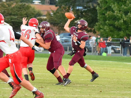 Stuarts Draft quarterback Trevor Craig passes the ball during a football game played in Stuarts Draft on Friday, Sept. 8, 2017.