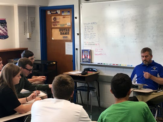 The Fort Defiance scholastic bowl team practices Friday,