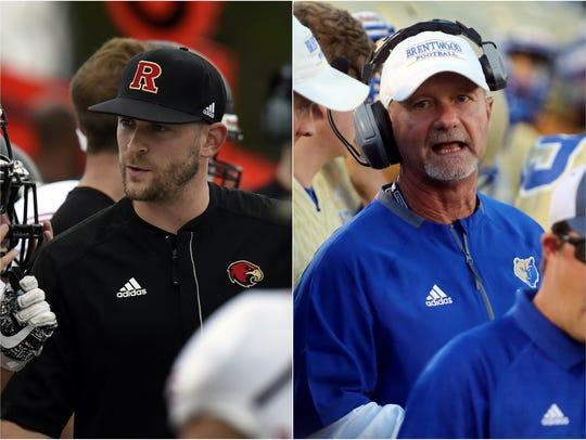 Ravenwood coach Matt Daniels (left) and Brentwood coach