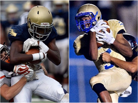 Independence's Kendrell Scurry (left) and Brentwood's Chayce Bishop (right)