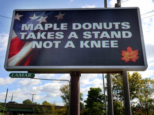 The electronic Maple Donuts sign along East Market Street in Spring Garden Township.