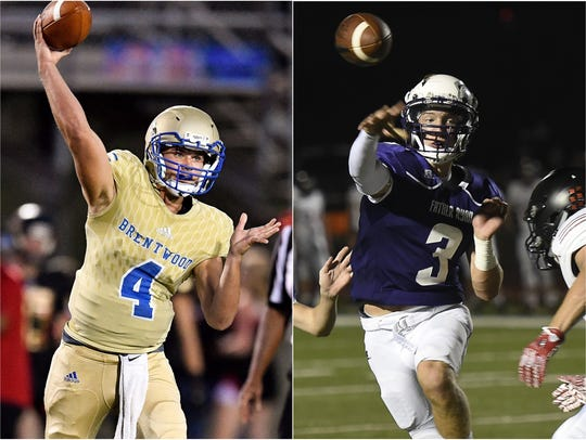 Brentwood quarterback Carson Shacklett left) and Father