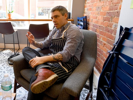 Owner and baker Bryan Hollar talks about moving from vision to reality with opening Réunion Bakery & Espresso in downtown Staunton.  He speaks during an interview at the business on Tuesday, Oct. 10, 2017.