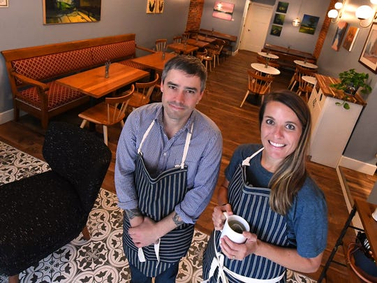 Bryan Hollar is owner and baker at Réunion Bakery & Espresso with Amanda Green working as manager of the business, located at 26 South New Street in downtown Staunton. Photo taken on Tuesday, Oct. 10, 2017.