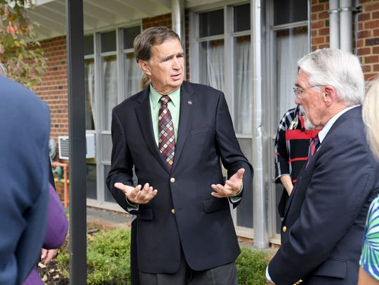 Sen. Emmett Hanger, R-Mount Solon, speaks with Del. Dickie Bell, R-Staunton, at an event at the Virginia School for the Deaf and the Blind in Staunton in October 2017.