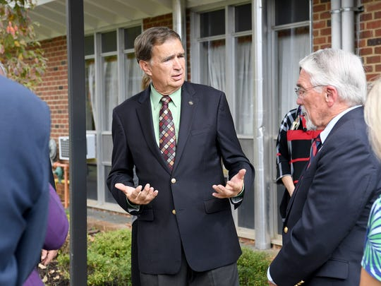 State Sen. Emmett Hanger, R-Mount Solon, speaks with Del. Dickie Bell, R-Staunton, at an event on the campus of the Virginia School for the Deaf and the Blind in Staunton, Va., in October 2017.