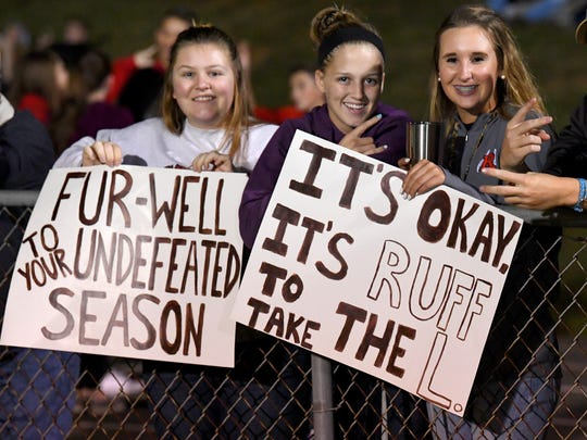 Riverheads' fans have signs held in support of their team during a football game played in Greenville on Friday, Oct. 13, 2017.
