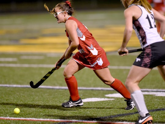 Bermudian Springs' Olivia Blasone drives down field
