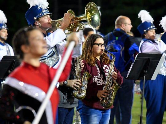 Members of Shelburne Middle School's band joins the