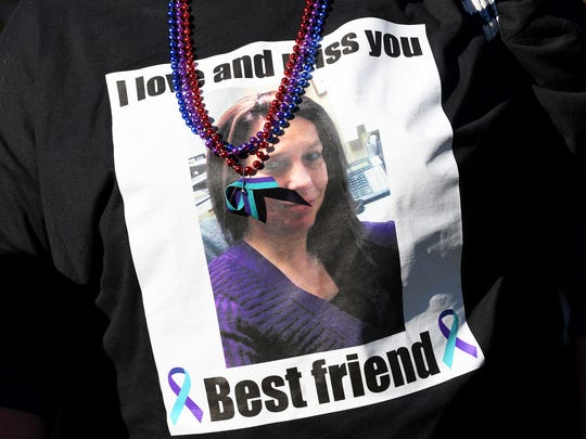 A photo and message on a shirt worn by a participant honors the memory of someone lost to suicide. The third annual Greater Augusta Out of the Darkness Walk was held at Gypsy Hill Park on Saturday, Oct. 21, 2017. The event brought together people affected by suicide and promoted awareness to suicide prevention.