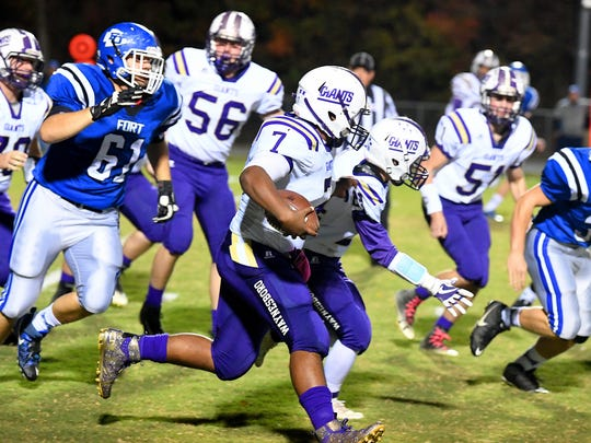 Waynesboro's DaJuan Moore runs the football during a game played in Fort Defiance on Friday, Oct. 27, 2017.