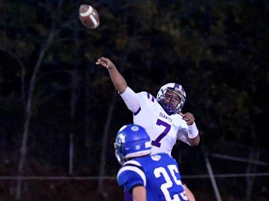 Waynesboro's DaJuan Moore fires off a long pass downfield