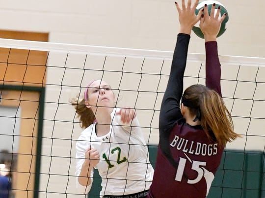 Wilson Memorial's Paris Hutchinson hits the ball past Luray's Kristen Weaver at the net during the  Shenandoah District volleyball tournament championship played in Fishersville on Thursday, Nov. 2, 2017. Wilson defeated Luray, 3-2.