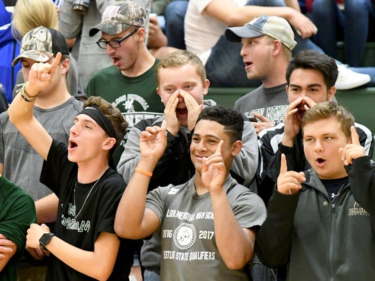 "Fans chant ""one more point"" during the  Shenandoah District volleyball tournament championship played in Fishersville on Thursday, Nov. 2, 2017. Wilson defeated Luray, 3-2."