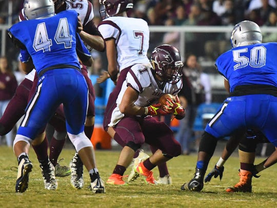 Stuarts Draft's Logan Leche slows up with the ball