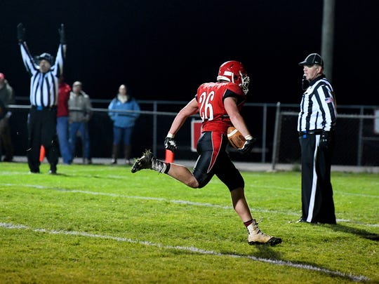 Riverheads' Dalton Jordan makes it into the end zone for a touchdown during a Region 1B semifinal game played in Greenville on Friday, Nov. 17, 2017.