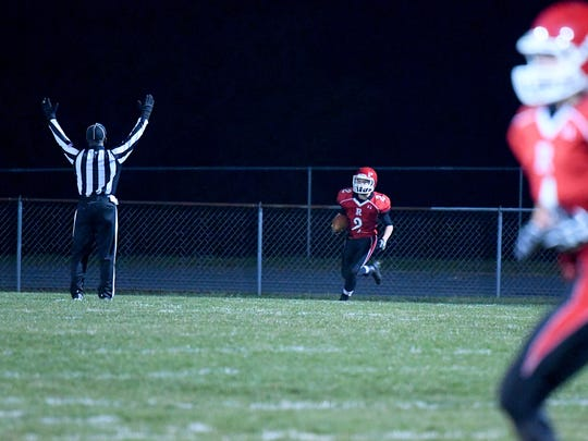 Riverheads' Devin Morris runs the football 81 yards to make it into the end zone for a touchdown during a Region 1B semifinal game played in Greenville on Friday, Nov. 17, 2017.