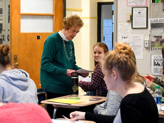 Teacher Jo Fields works with her students during a psychology class at Buffalo Gap High School on Monday, Nov. 20, 2017.  A 48-year educator, she has been at Buffalo Gap for the past 30 years.