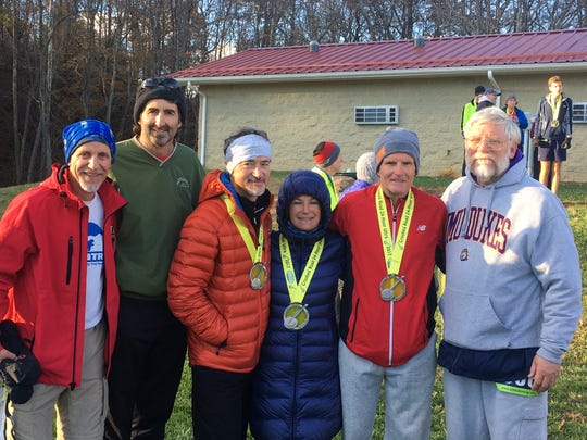 These six local residents combined for 464 individual miles in the Crooked Road 24-Hour Ultra race in 2017. From left, Bill Gentry, Robert Weller, Kerry Alexander, Patsy Alexander, Gary Michael and Ron Hartlaub.