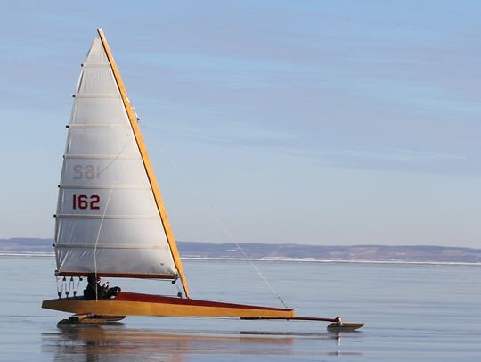 Photo of ice boating on Lake Winnebago. Enjoy the view