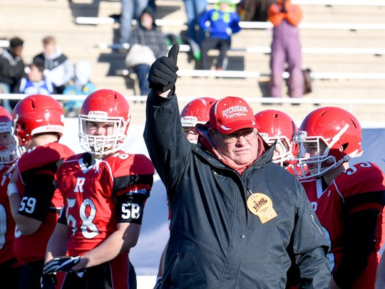 Riverheads' head coach Robert Casto gives a thumbs