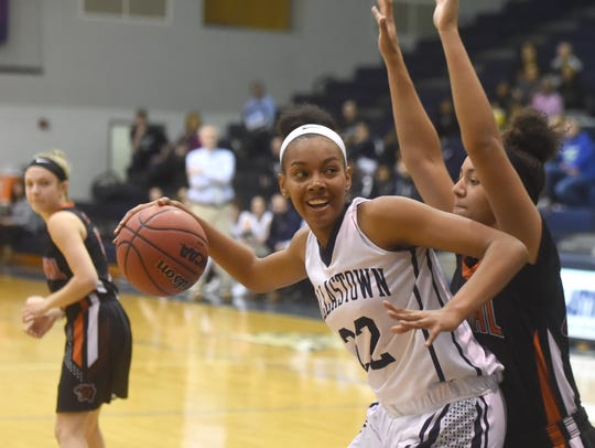 Dallstown's Aniya Matthews drives to the basket during