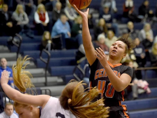Central York's Teirra Preston goes up for a shot during the Panthers' 51-44 victory over the Wildcats on Tuesday, Dec. 12, 2017.