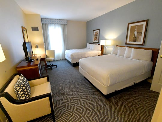 A recently renovated guest room at the Stonewall Jackson Hotel and Conference Center in downtown Staunton on Wednesday, Dec. 20, 2017.