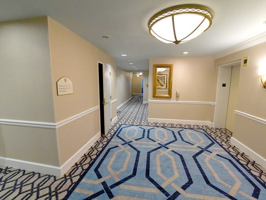 An area in front of the elevators on a recently renovated