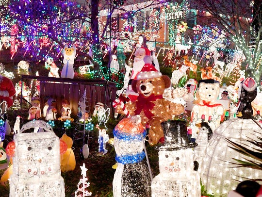 Holiday lights and decorations of all types fill the