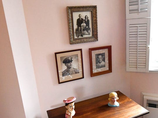 Old family photos in an upstairs bedroom at Gaie Lea,