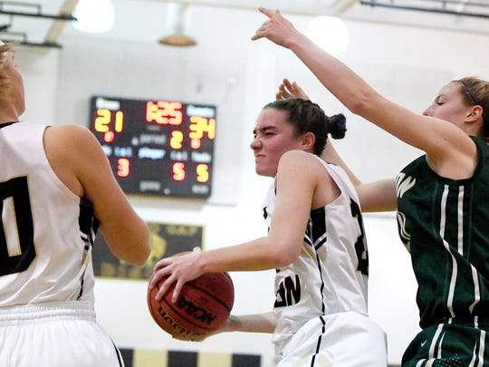 Buffalo Gap's Leah Calhoun comes down with the rebound