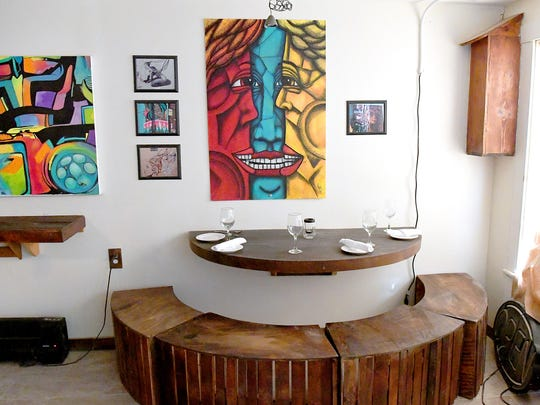 Inside the dining room at Island Sol Cafe, located at 302 North Central Avenue in Staunton.